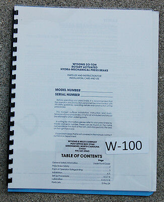 Wysong 20 Ton Hydra-mechanical Press Brake Operations And Parts Manual