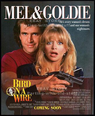BIRD ON A WIRE__Original 1990 print AD / movie promo__MEL GIBSON__GOLDIE HAWN