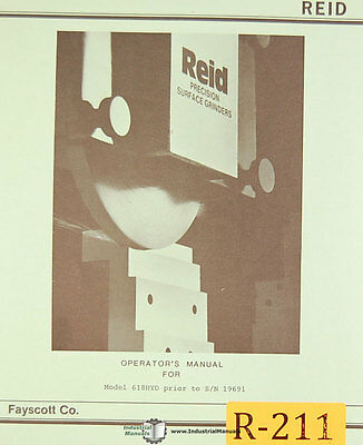 Reid 618hyd Surface Grinder Before 19691 Operations And Maintenance Mnaual