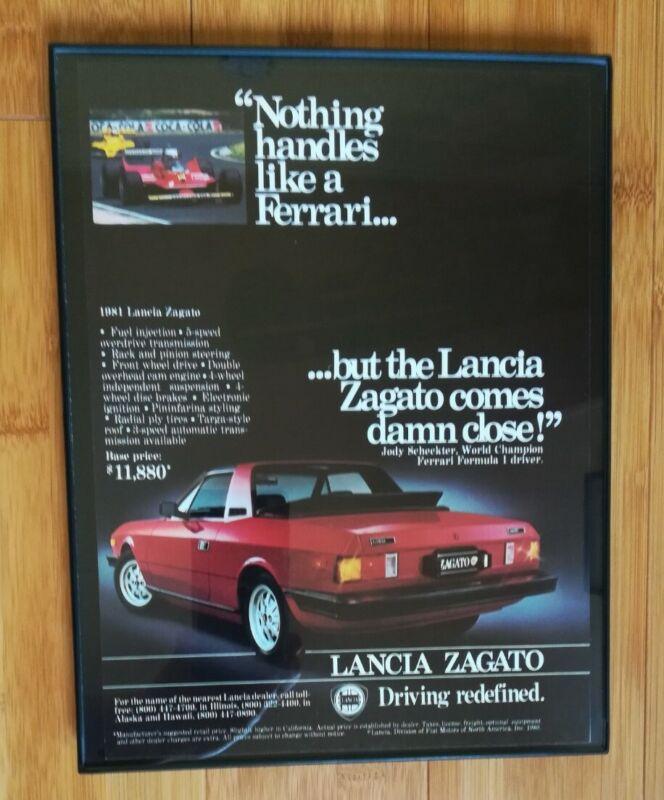 1981 Framed Lancia Zagato Ad Ferrari Comparison Ghost Race Car Advertisement
