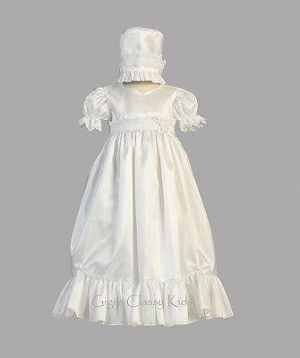 Baby Girls White Taffeta Dress Gown Christening Baptism B...