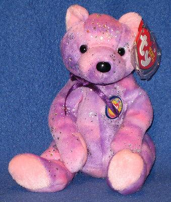 TY CLUBBY VI (6) the PURPLE BEAR BEANIE BABY - MINT with MINT TAGS - Purple Bear