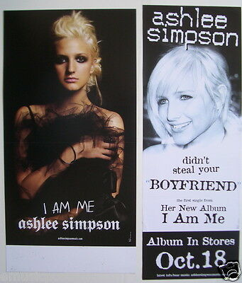 """ASHLEE SIMPSON: 2 PROMO POSTERS / BANNERS """"I AM ME & DIDN'T STEAL YOUR BOYFRIEND"""