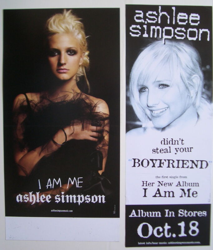 """ASHLEE SIMPSON: 2 PROMO POSTERS / BANNERS """"I AM ME & DIDN"""