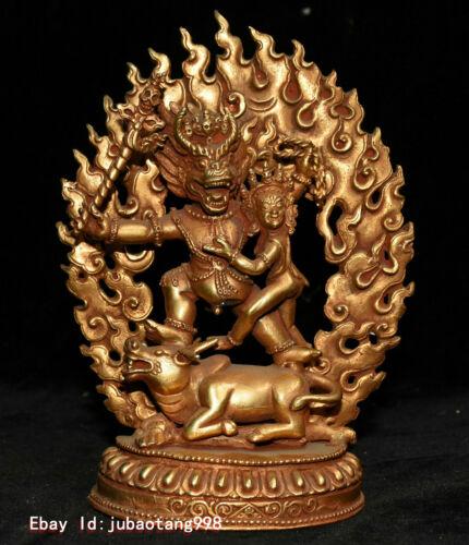 "6"" Old Tibet Buddhism Bronze GIlt Gold Yamantaka Yama Dharmaraja Buddha Statue"