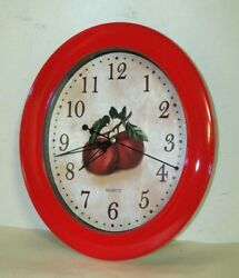 Red Apple Kitchen Wall Clock 12 Unique Oval Shape w/ Glass Lens Mint Condition