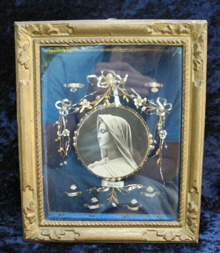 OLD ANTIQUE FRAME WITH PICTURE DECORATION AND RELIQUARY  NO PAPERS / DOCUMENTS