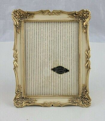 Vintage Convex Glass Photo Frame White Washed Gold Plated
