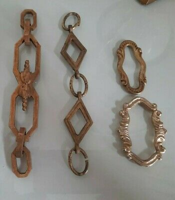 ANTIQUE BRASS DECORATIVE CHANDELIER LIGHT CHAIN LINK HOOPS *REDUCED*