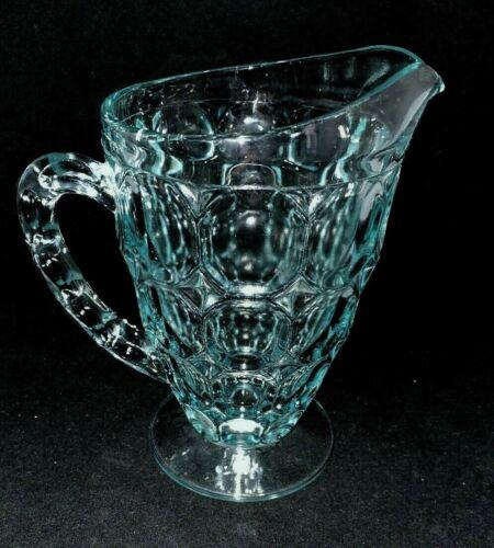 Vintage Jeannette Glass THUMBPRINT Ice Blue Pitcher 22 oz Mid Century