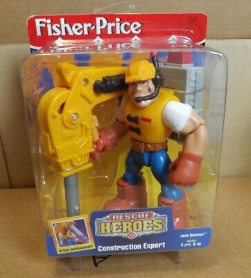 RESCUE HEROES JACK HAMMER CONSTRUCTION EXPERT NEW ON CARD 1997 FISHER PRICE