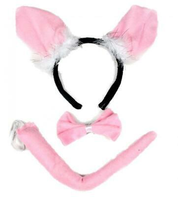 Halloween Costumes For 3 Females (Little Pig Headband Bowtie Tail 3pc Costume for Child Halloween or Party Use )
