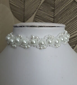White Pearl & seed Bead CHOKER necklace BRIDAL style glass 13