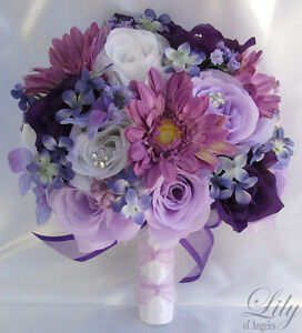 17pcs-Wedding-Bridal-Bouquet-Set-Decoration-Package-Flower-LAVENDER-PURPLE-daisy