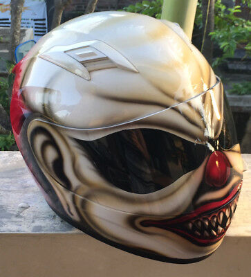 Mad Killer Scary Clown Motorcycle Airbrush Helmet Custom Helmet Red Hair  - Scary Customs