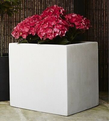 Pair of 20cm Marble White Polystone Cubic Planters/Garden Flower Pots/Containers