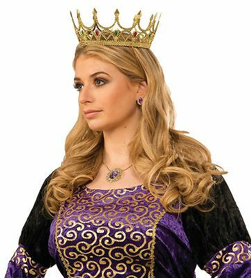 Royal Queen Crown Gold with Gems Fairy Tale Story Book Renaissance Adult Size](Renaissance Crown)