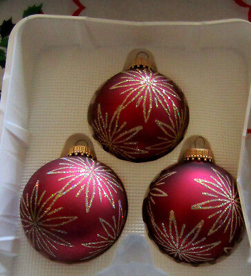KREBS~CHRISTMAS~3~CRANBERRY WITH STARBURST~BLOWN GLASS~BALL ORNAMENTS~BOXED