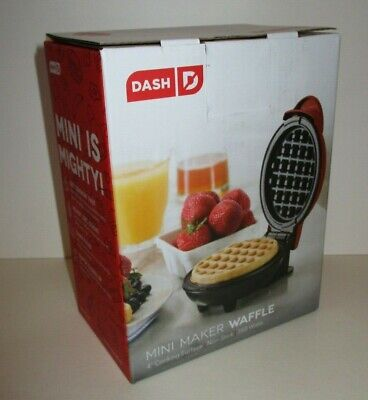 """DASH BRAND MINI 4"""" WAFFLE MAKER ELECTRIC SMALL KITCHEN APPLIANCE RED NEW IN BOX"""
