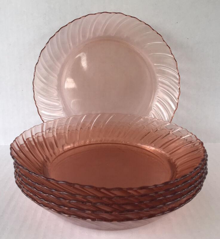 "Vintage Fortecrisa Pink Swirl Depression Style Glass Bowls 8 1/4"" Set Of 6"