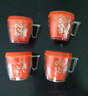 Vintage Thermal Insulated Coffee Mugs Cups MCM Orange Clear Plastic  Gold Citrus