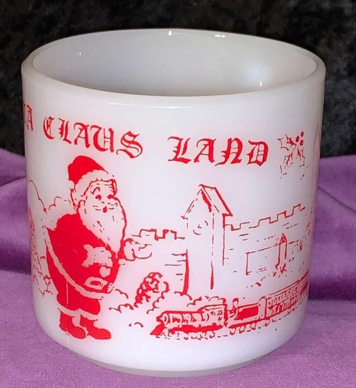 "RARE !! VINTAGE 3"" CHRISTMAS SANTA CLAUS LAND FEDERAL MILK GLASS MUG RED DESIGN"