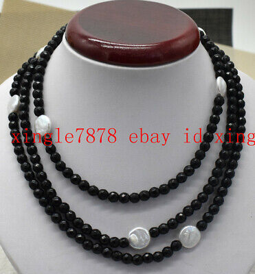 Fashion 6mm Natural Black Agate 12-13mm White Coin Pearl Necklace 25/36/50'' AAA 13mm Black Coin