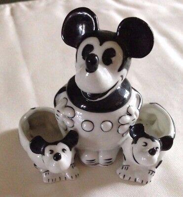 Disney Vintage Mickey Mouse Condiment Set w/ Open Salt & Pepper Germany