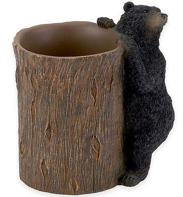 Black Bear Tumbler Bath Cup Fun Rustic Resin Lodge Bathroom Decor Brush Gargle