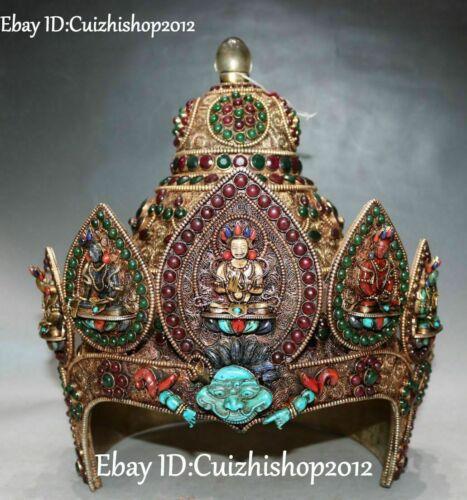 Silver Filigree Crystal Gem Turquoise White Tara Buddha Casque Helmet craniacea