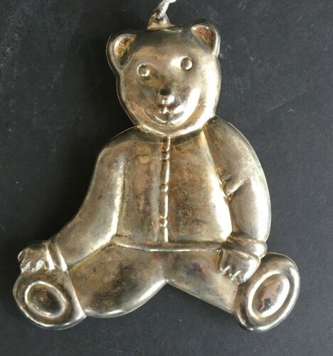 """Vintage Silver Tin Teddy Bear Christmas Ornament Decoration_5""""_Two Sided"""