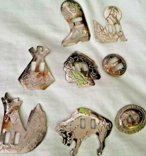 Bolero Shapes Set Of 8 Western Tin A little Rust silver 2 wolf  boot tpee buffa