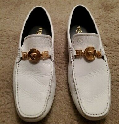 Versace White Dress Shoes Loafers Medusa Gold Buckle Good Condition No Box
