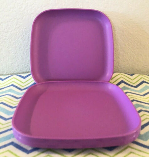 "Tupperware Square Luncheon Plates 8"" Wild Mulberry Set Of 4 Plates New"