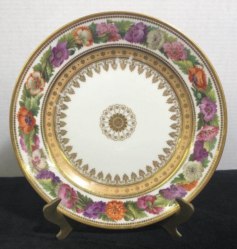 Antique Pavots des jardins Floral Salad Plate