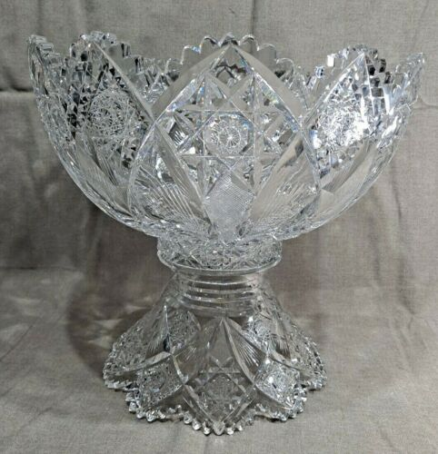 """Hawkes Cut Glass Holland 15"""" Punch Bowl with Pedestal ~ American Brilliant ~ ABP"""