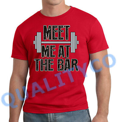 Men's Meet Me At The Bar Red T Shirt Muscle Bodybuilding Gym MMA Workout