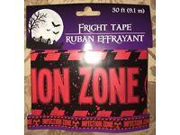 "NIP Halloween Fright Tape CAUTION TAPE 20 Feet  /"" CAUTION /"""