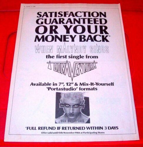 """Bonaventura/Jeremy Healy When Malyndy Sings 1984 Press/Mag ADVERT 11.5""""x 8.5"""""""