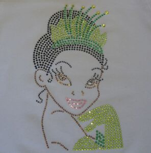 9-Disney-Princess-the-Frog-TIANA-hot-fix-iron-on-rhinestone-transfer-patch
