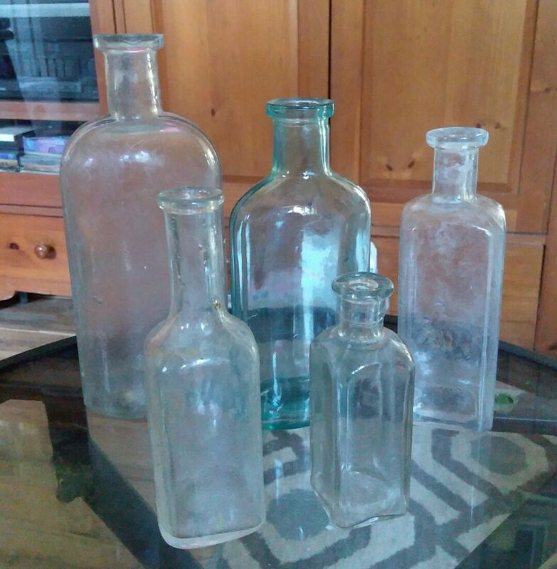 Lot of 5 Antique Vintage Medicine Bottles