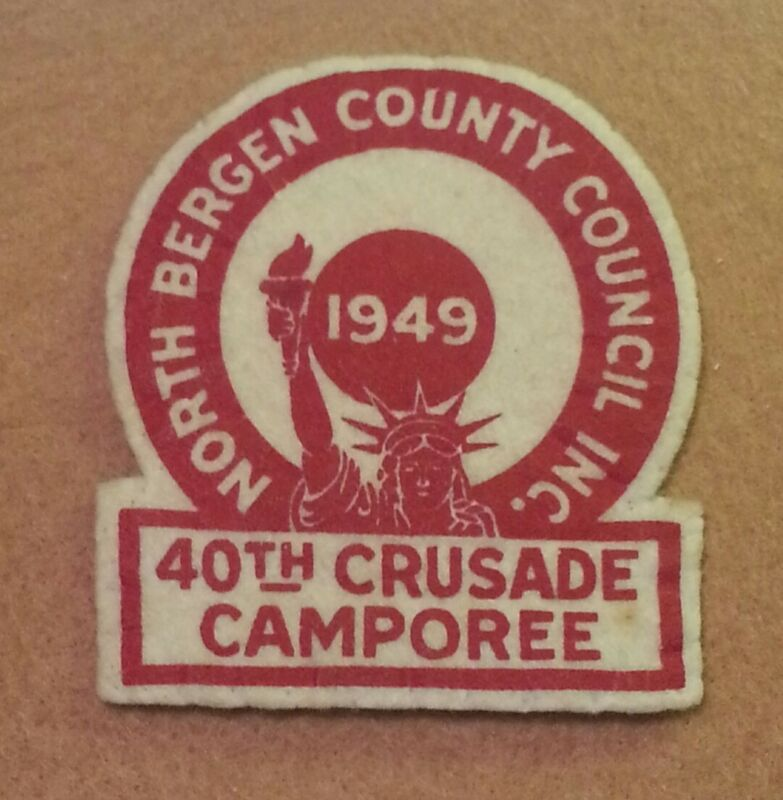 VINTAGE MINT 1949 NORTH COUNTY COUNCIL 40th CRUSADE CAMPOREE FELT PATCH  A00721