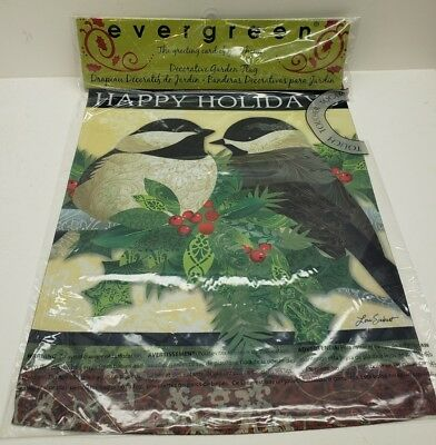 Evergreen Decorative Garden Flag Happy Holidays Feathered Friends 12x18