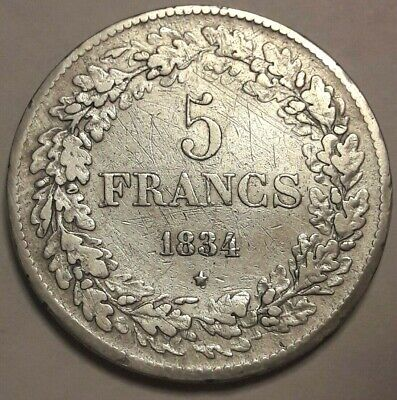 5 Francs, 5 Frank, 1834, Zilver België, Leopold I Belgique KM#3 LA#BFM-124