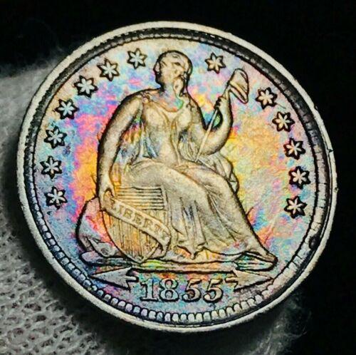 1855 Seated Liberty Half Dime 5C AU+ High Grade Ex-Crain US Silver Coin CC2127
