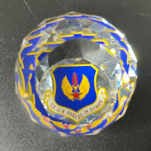 Vintage Faceted Crystal Mini Paperweight US Air Forces in Europe USAFE MAJCOM