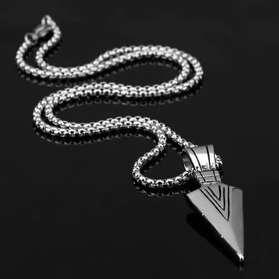 Fashion Jewelry Men Gold Silver Arrow Head Pendant Long Chain Necklace Gift