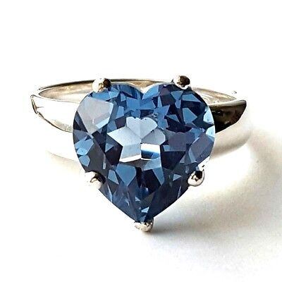(SIZES 8,9,10) BLUE TANZANITE HEART RING Beveled CZ Stone .925 STERLING SILVER