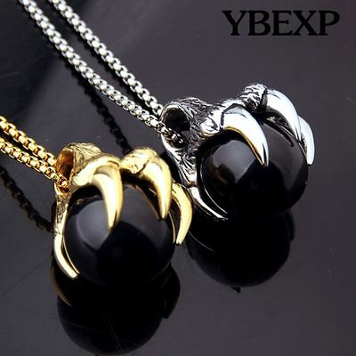 Mens  Fashion Jewelry Gold Silver Dragon Claw Stainless Steel Pendant Necklace