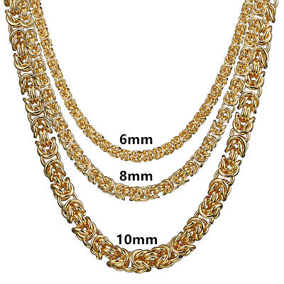 gold color men stainless steel Heavy necklaces links chains byzantine for boys ](Necklaces For Boys)